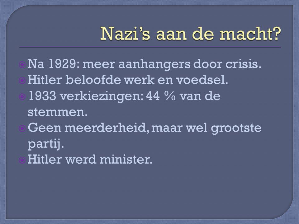 Nazi's aan de macht Na 1929: meer aanhangers door crisis.