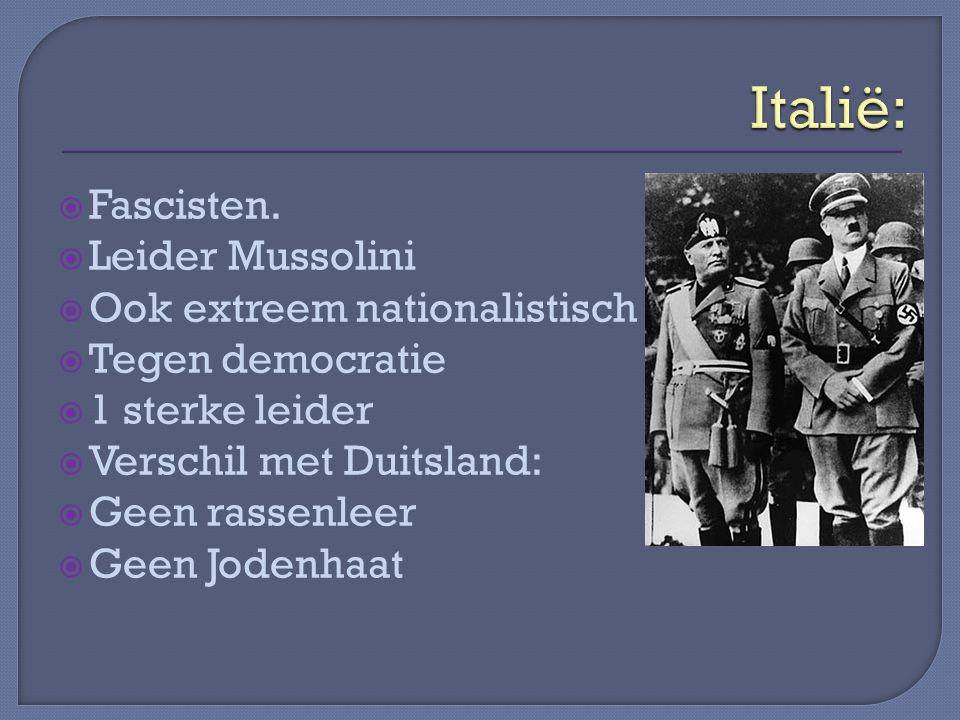 Italië: Fascisten. Leider Mussolini Ook extreem nationalistisch