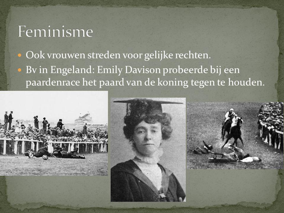 Feminisme Ook vrouwen streden voor gelijke rechten.