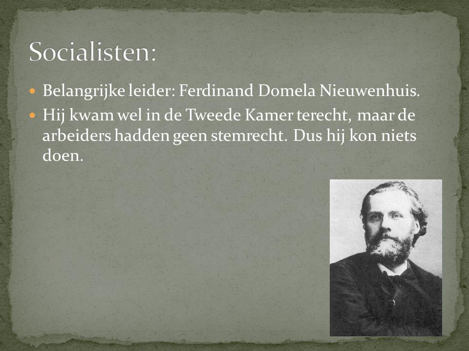 Socialisten: Belangrijke leider: Ferdinand Domela Nieuwenhuis.