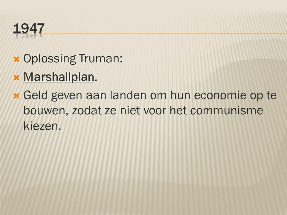 1947 Oplossing Truman: Marshallplan.