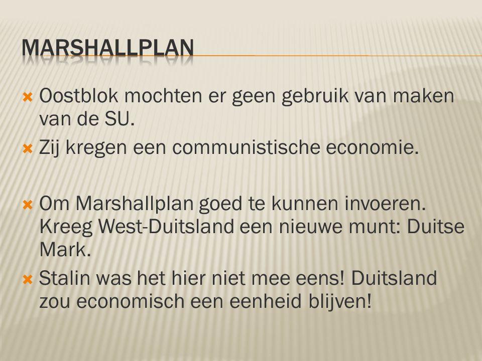 Marshallplan Oostblok mochten er geen gebruik van maken van de SU.