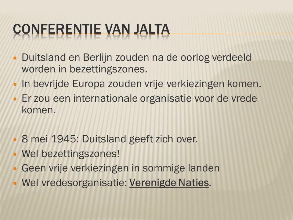 Conferentie van Jalta Duitsland en Berlijn zouden na de oorlog verdeeld worden in bezettingszones.