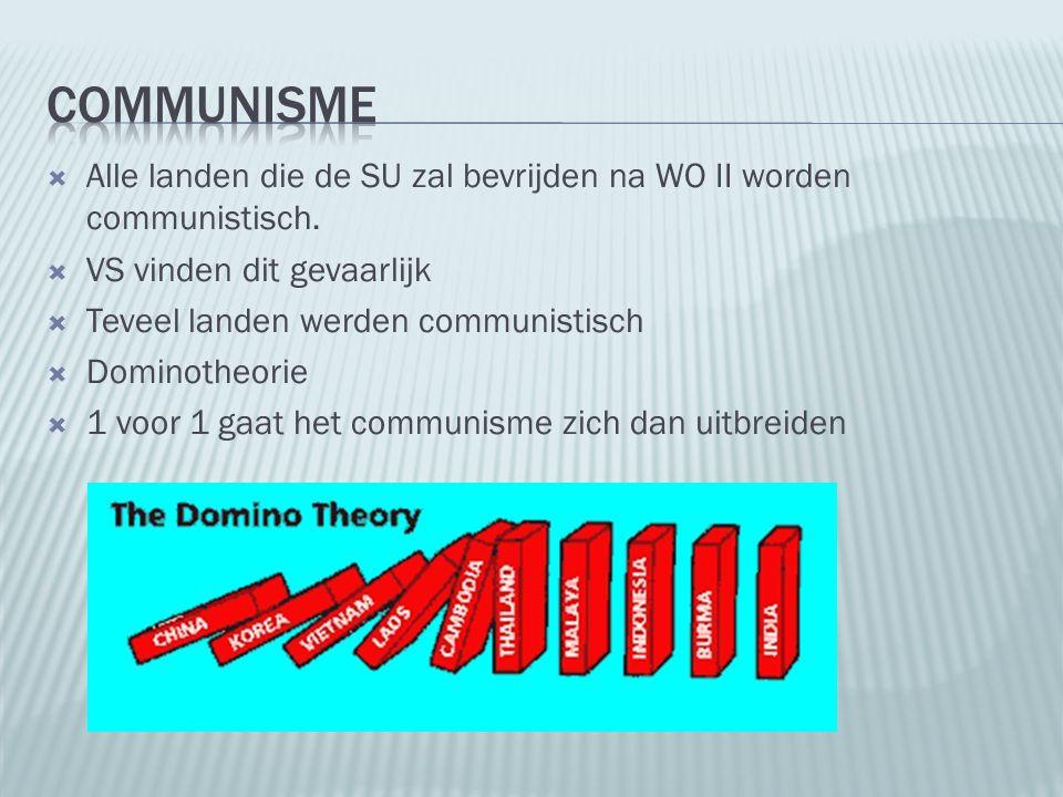 Communisme Alle landen die de SU zal bevrijden na WO II worden communistisch. VS vinden dit gevaarlijk.