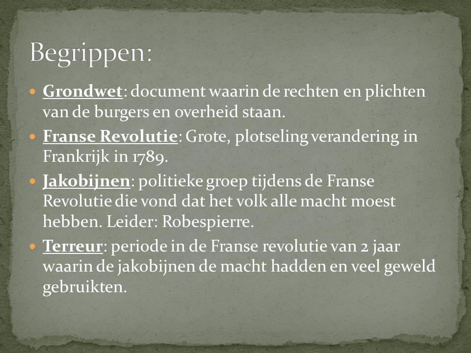 Begrippen: Grondwet: document waarin de rechten en plichten van de burgers en overheid staan.