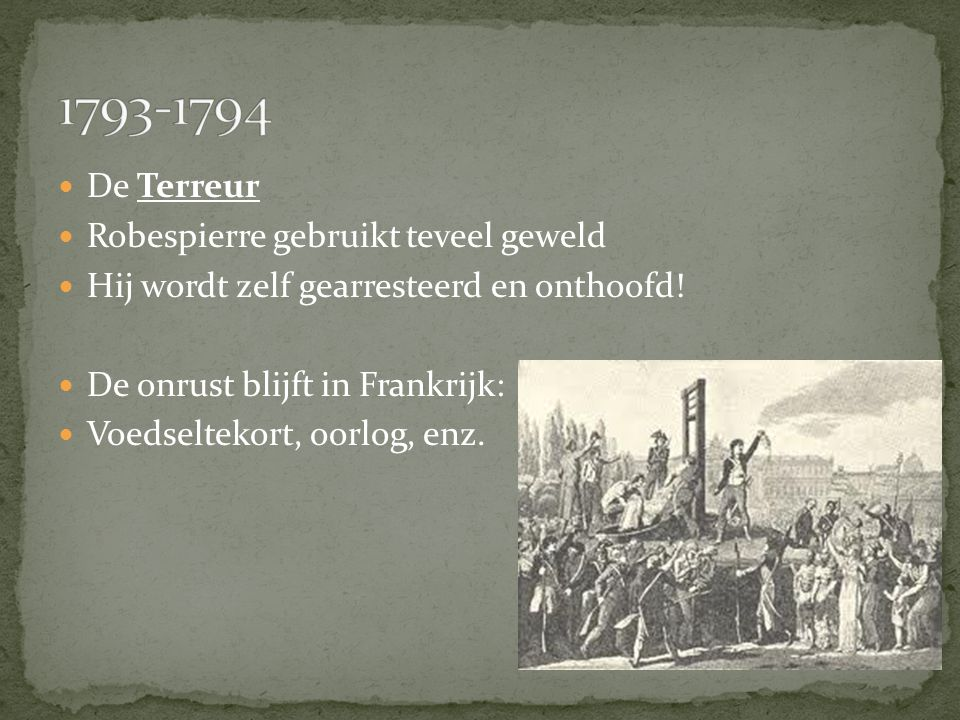 1793-1794 De Terreur Robespierre gebruikt teveel geweld