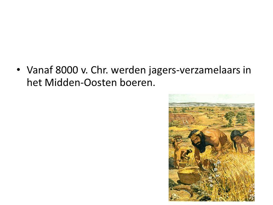 Vanaf 8000 v. Chr. werden jagers-verzamelaars in het Midden-Oosten boeren.