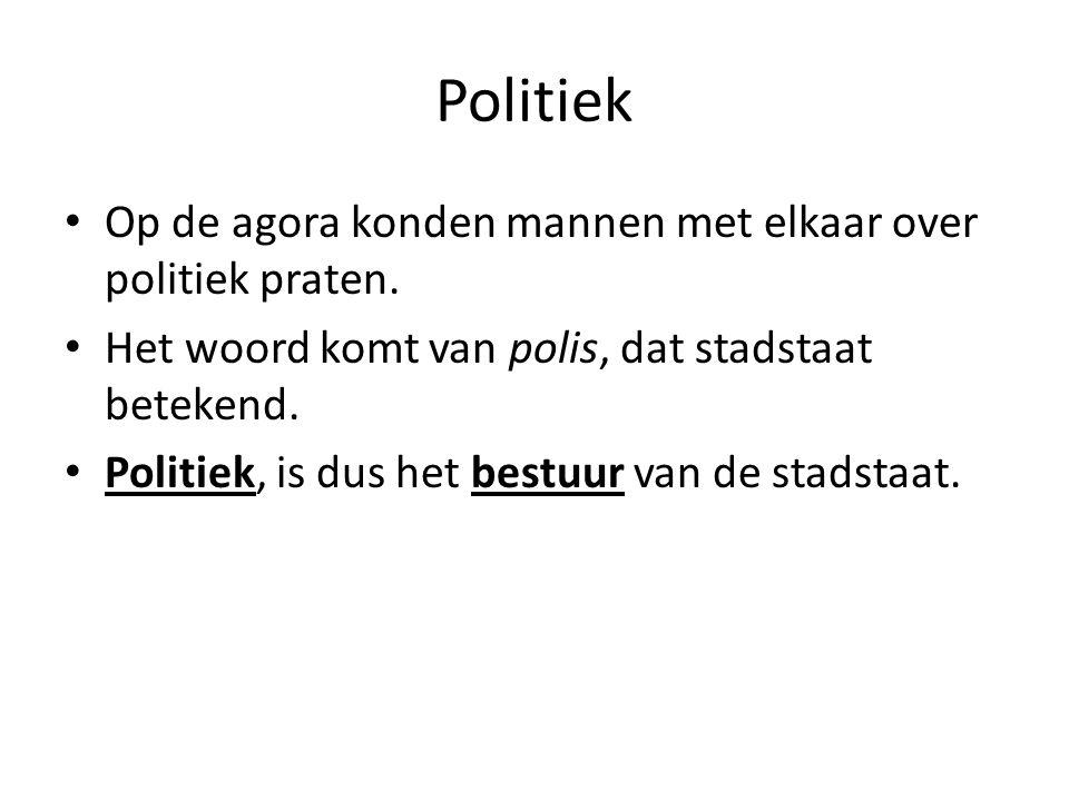 Politiek Op de agora konden mannen met elkaar over politiek praten.