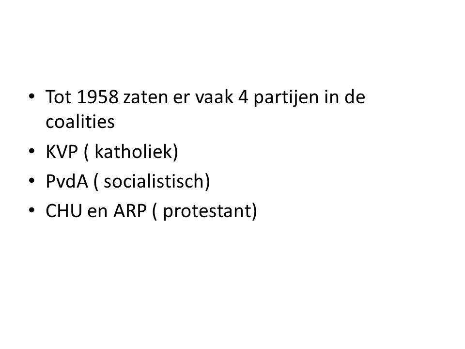 Tot 1958 zaten er vaak 4 partijen in de coalities