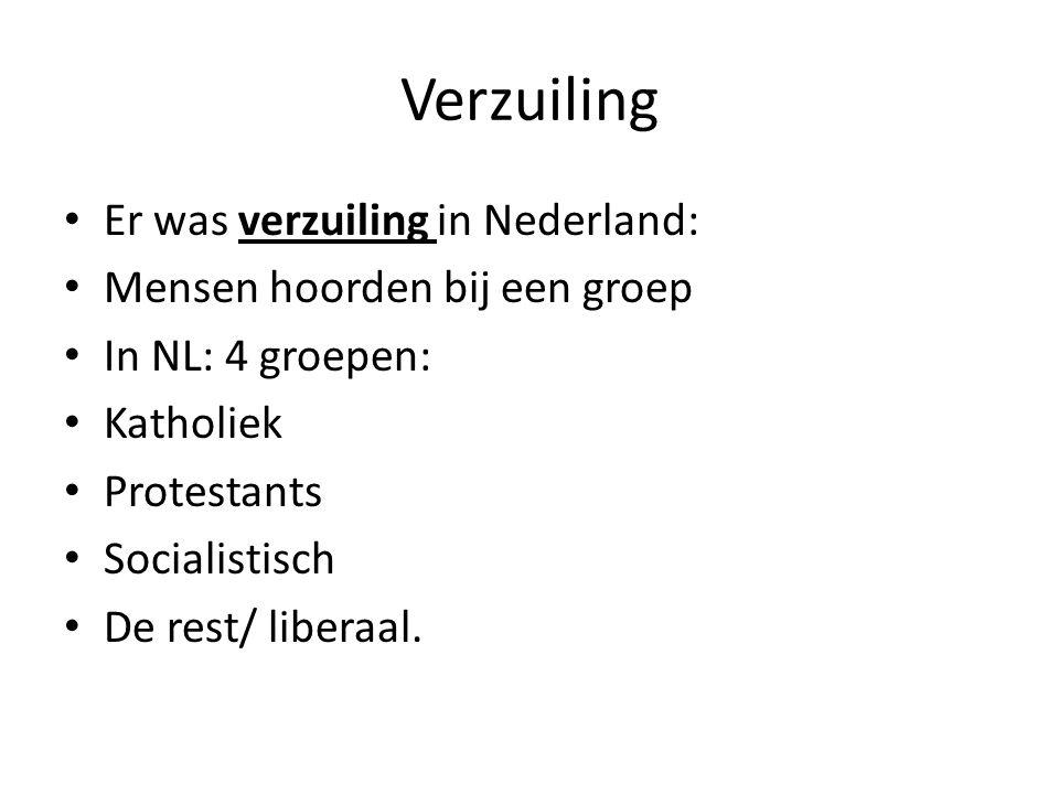 Verzuiling Er was verzuiling in Nederland: