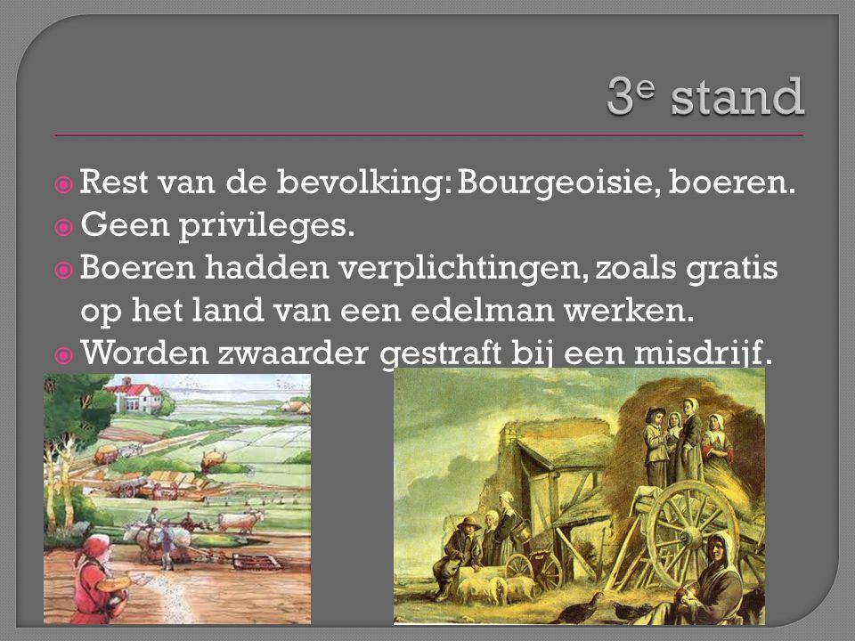 3e stand Rest van de bevolking: Bourgeoisie, boeren. Geen privileges.