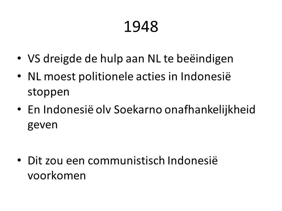 1948 VS dreigde de hulp aan NL te beëindigen