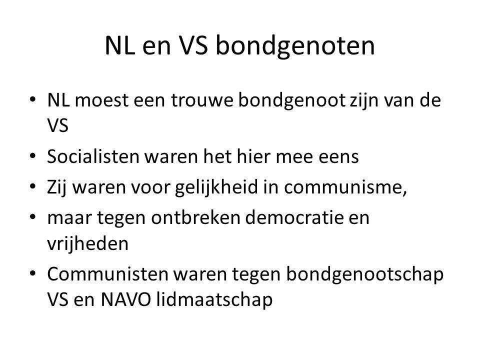NL en VS bondgenoten NL moest een trouwe bondgenoot zijn van de VS
