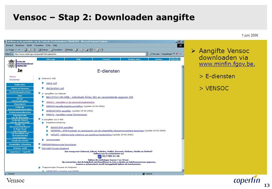 Vensoc – Stap 2: Downloaden aangifte