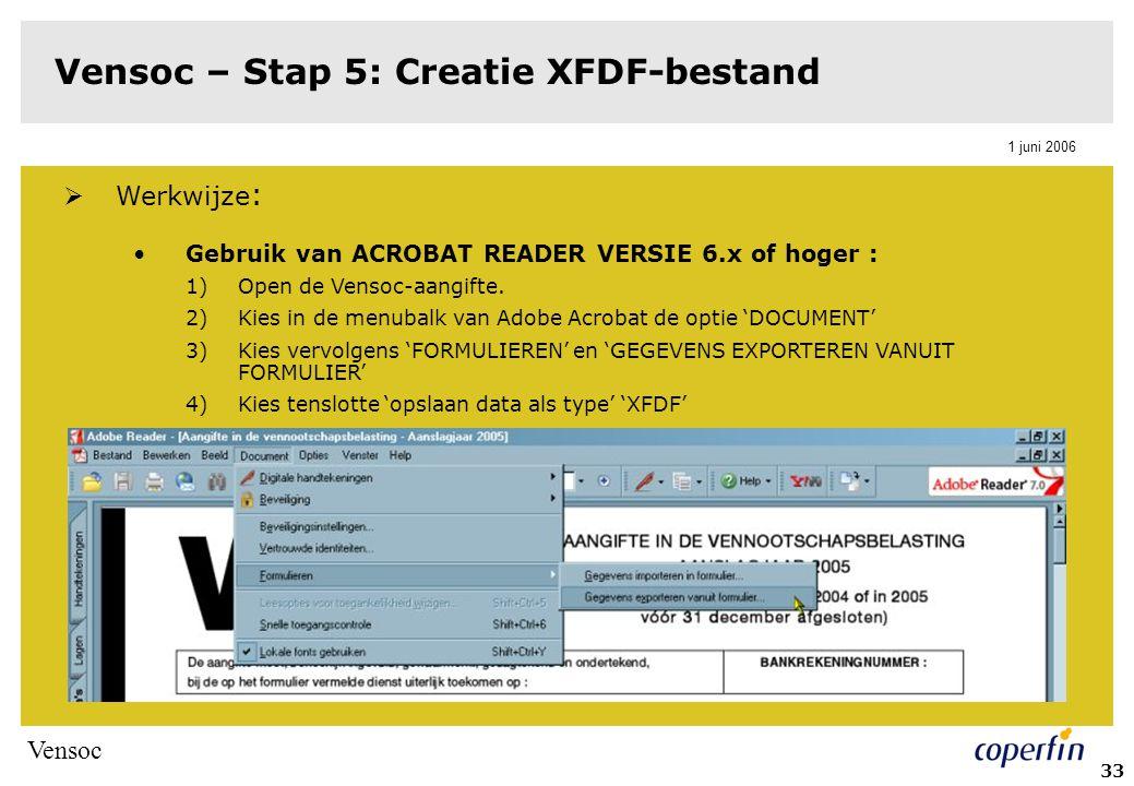 Vensoc – Stap 5: Creatie XFDF-bestand
