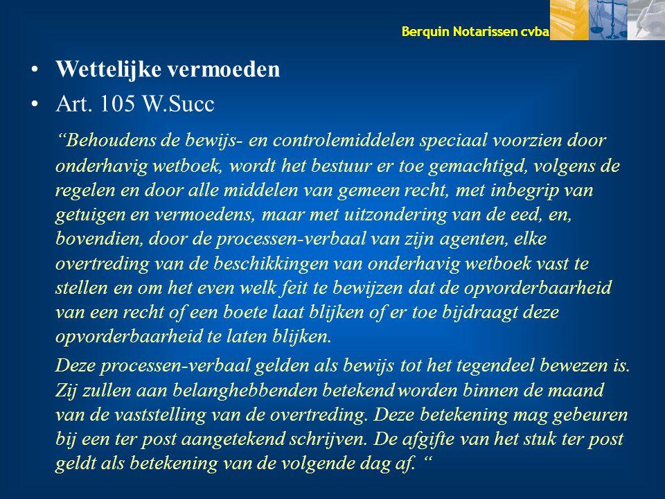 Wettelijke vermoeden Art. 105 W.Succ