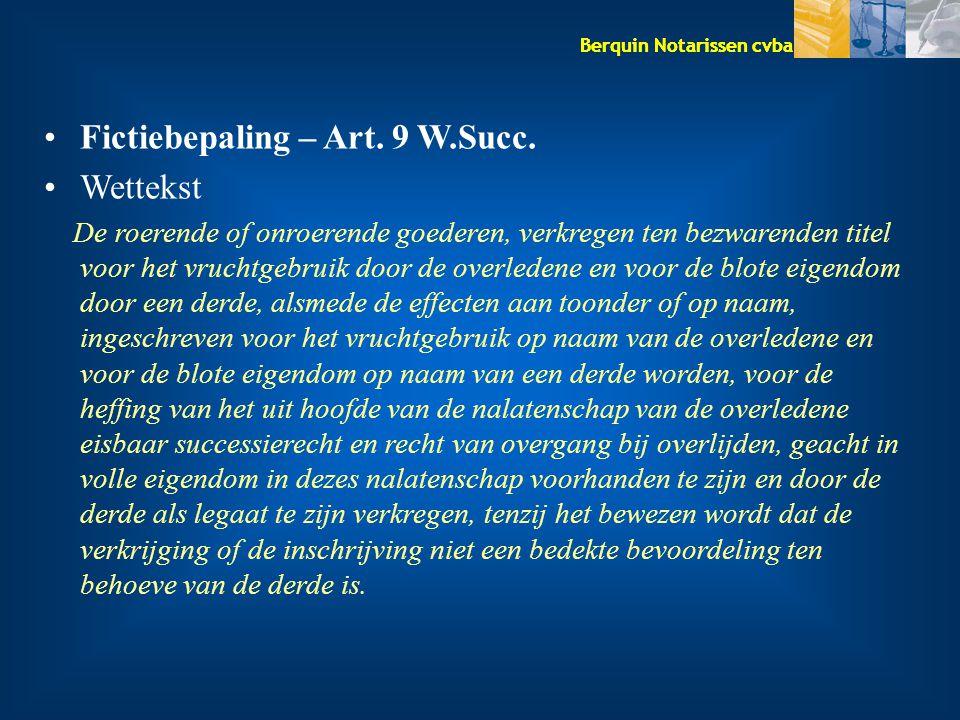 Fictiebepaling – Art. 9 W.Succ. Wettekst