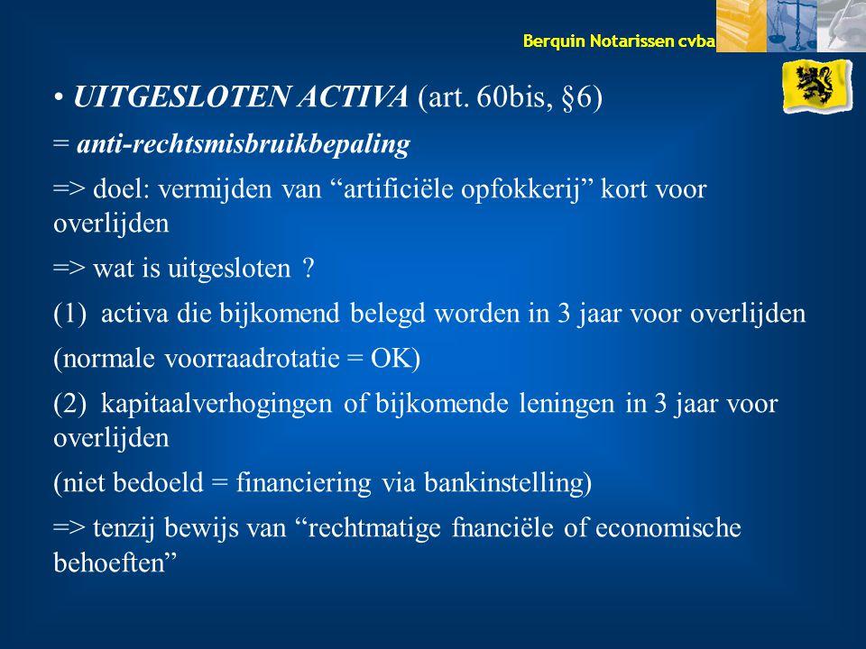 UITGESLOTEN ACTIVA (art. 60bis, §6)