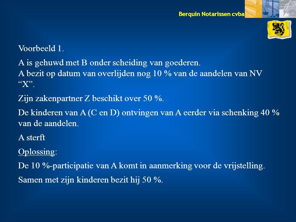 Voorbeeld 1. A is gehuwd met B onder scheiding van goederen. A bezit op datum van overlijden nog 10 % van de aandelen van NV X .