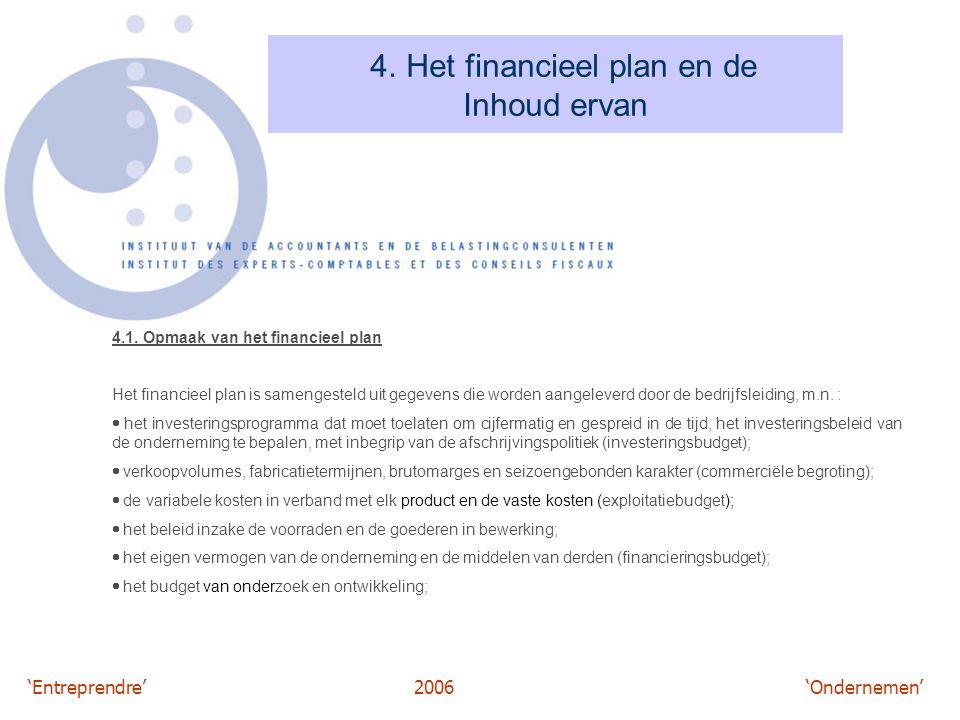 4. Het financieel plan en de