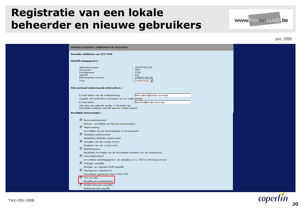 Registratie van een lokale beheerder en nieuwe gebruikers