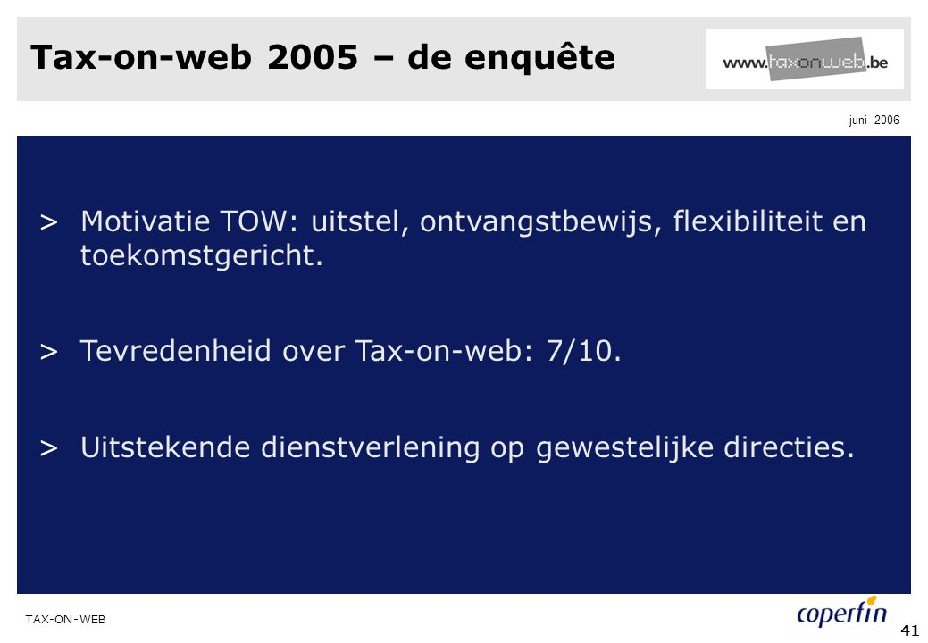 Tax-on-web 2005 – de enquête