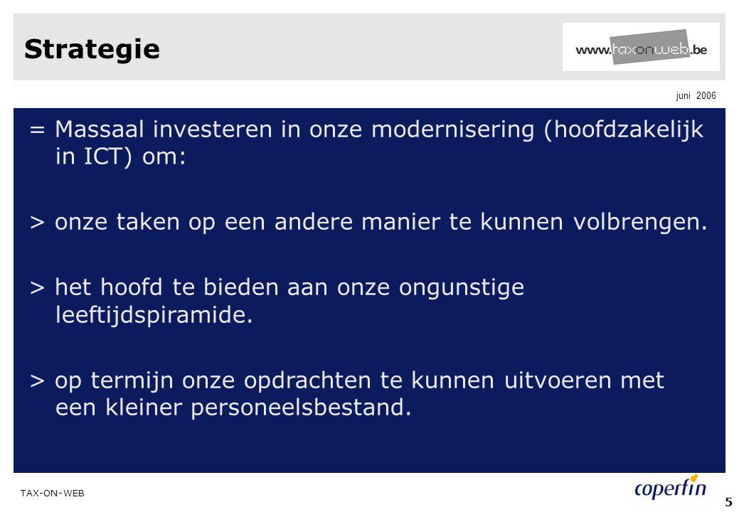 Strategie = Massaal investeren in onze modernisering (hoofdzakelijk in ICT) om: > onze taken op een andere manier te kunnen volbrengen.