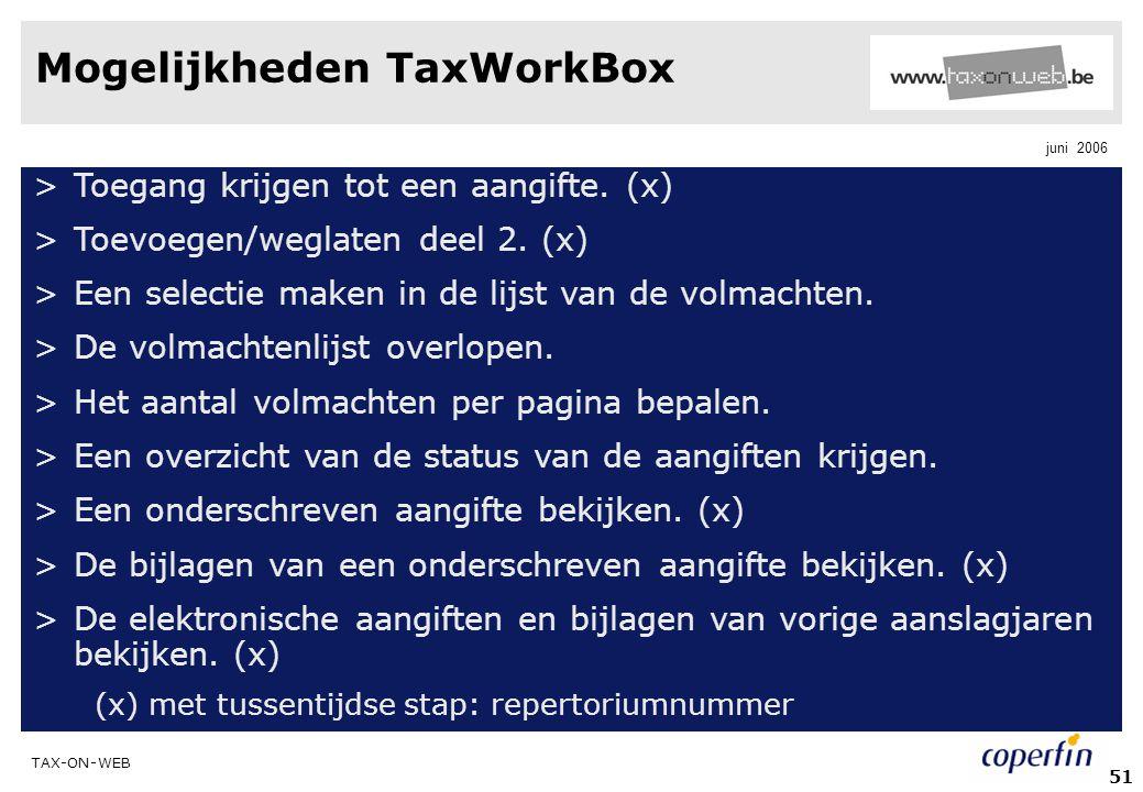Mogelijkheden TaxWorkBox