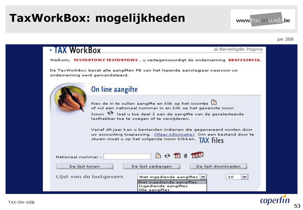 TaxWorkBox: mogelijkheden