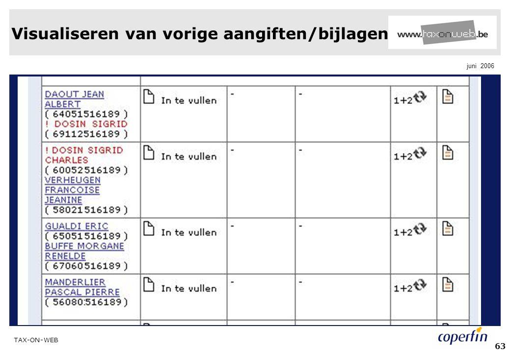 Visualiseren van vorige aangiften/bijlagen