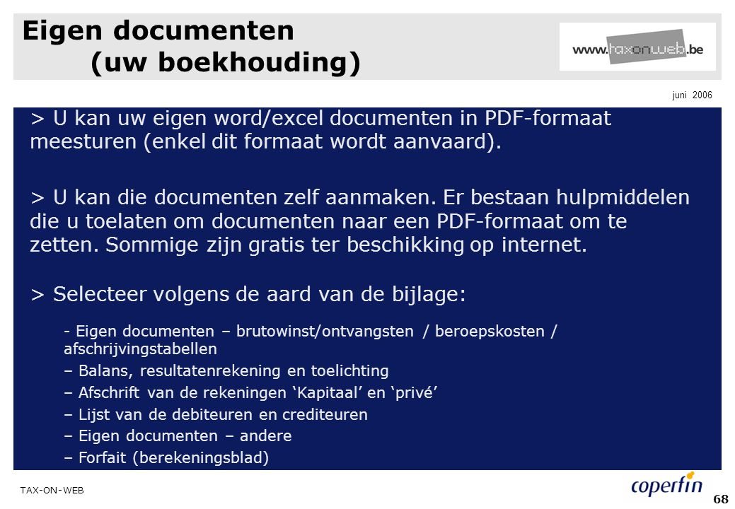 Eigen documenten (uw boekhouding)
