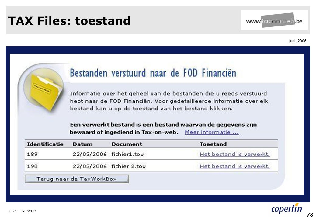 TAX Files: toestand