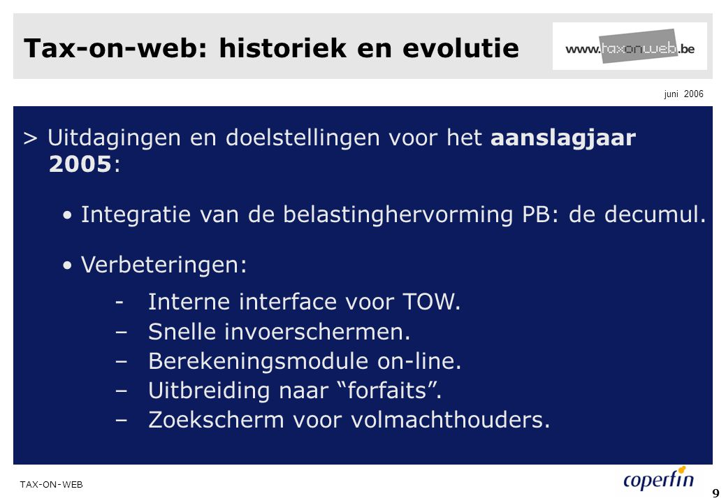 Tax-on-web: historiek en evolutie