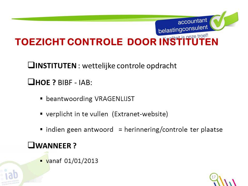 TOEZICHT CONTROLE DOOR INSTITUTEN