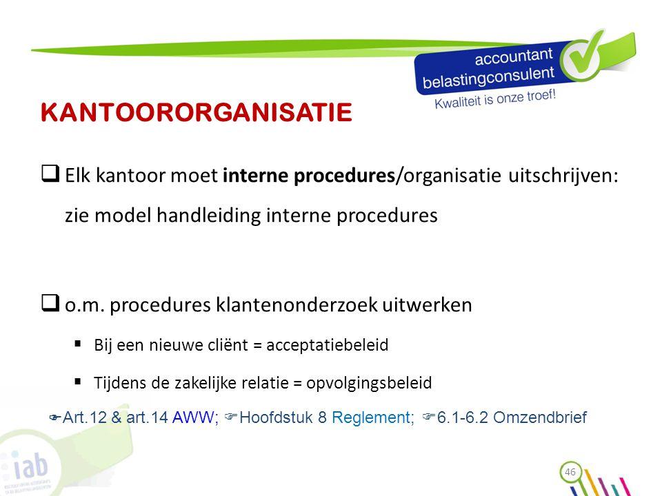 KANTOORORGANISATIE Elk kantoor moet interne procedures/organisatie uitschrijven: zie model handleiding interne procedures.