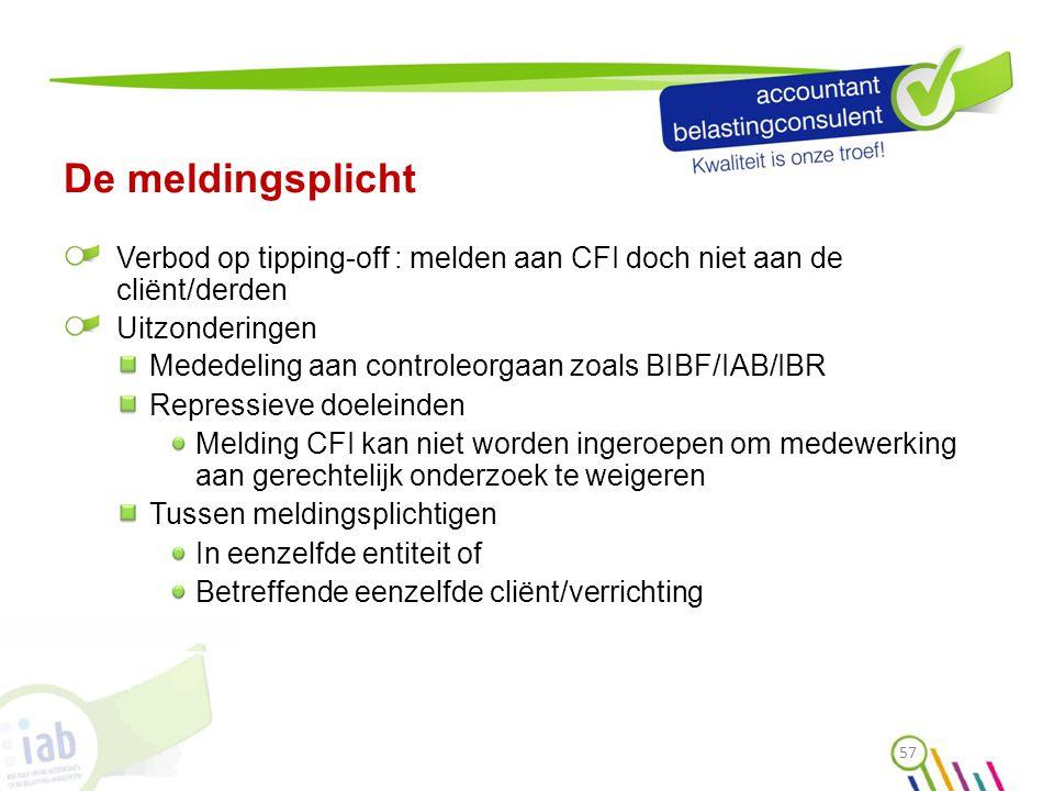 De meldingsplicht Verbod op tipping-off : melden aan CFI doch niet aan de cliënt/derden. Uitzonderingen.