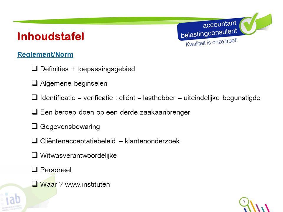 Inhoudstafel Reglement/Norm Definities + toepassingsgebied