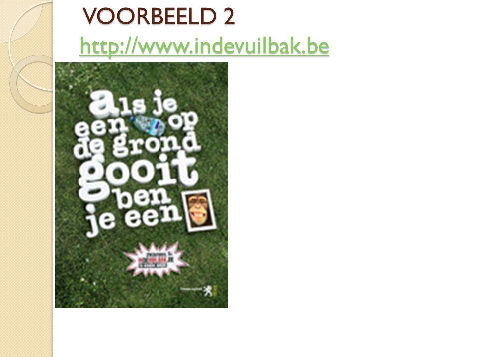 VOORBEELD 2 http://www.indevuilbak.be