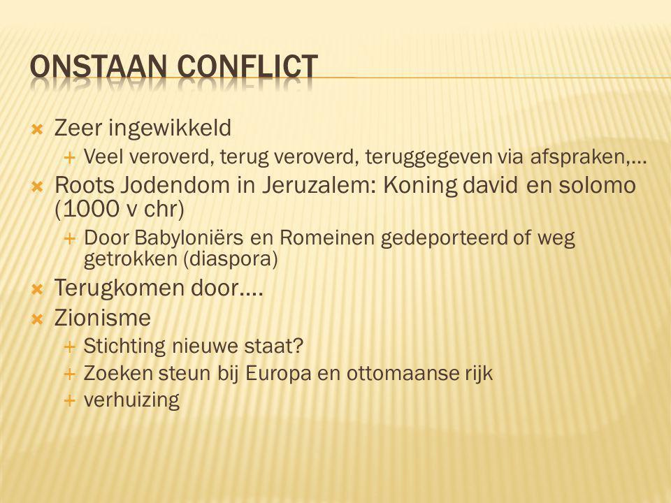 Onstaan Conflict Zeer ingewikkeld