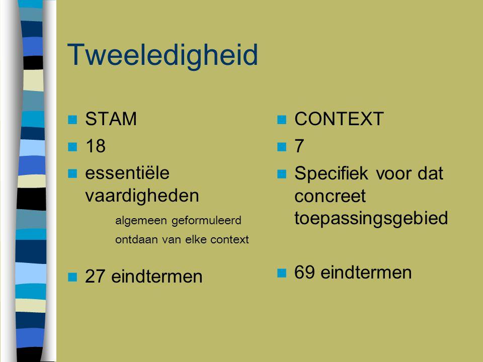 Tweeledigheid STAM 18 essentiële vaardigheden algemeen geformuleerd