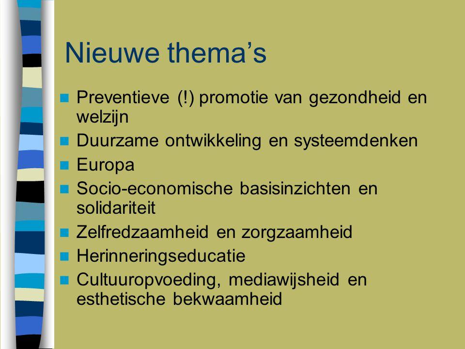 Nieuwe thema's Preventieve (!) promotie van gezondheid en welzijn