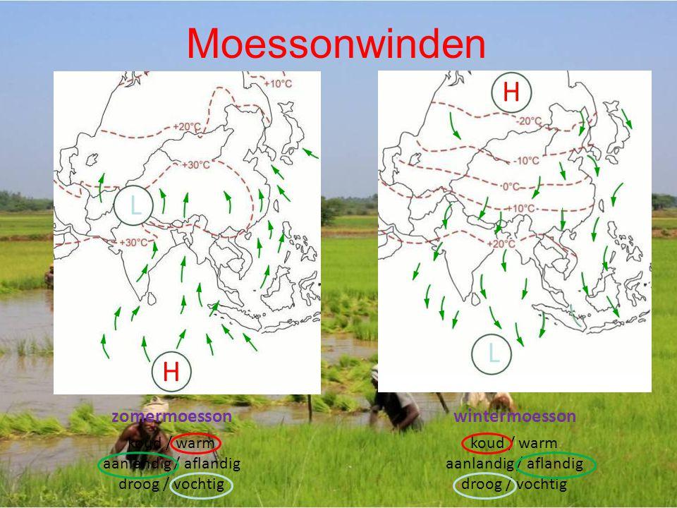 Moessonwinden H L L H zomermoesson wintermoesson koud / warm