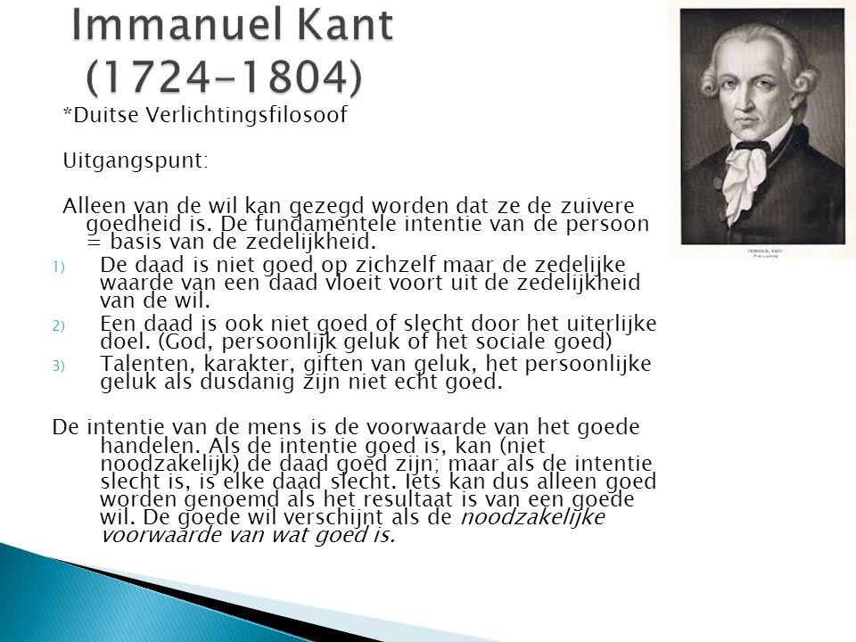 Immanuel Kant (1724-1804) *Duitse Verlichtingsfilosoof Uitgangspunt: