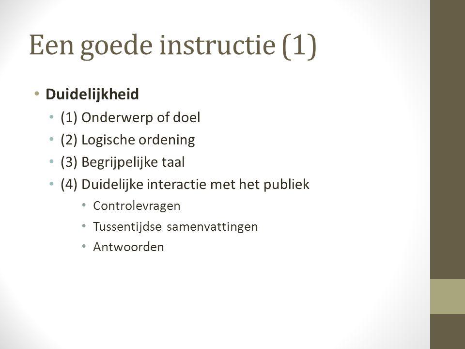 Een goede instructie (1)