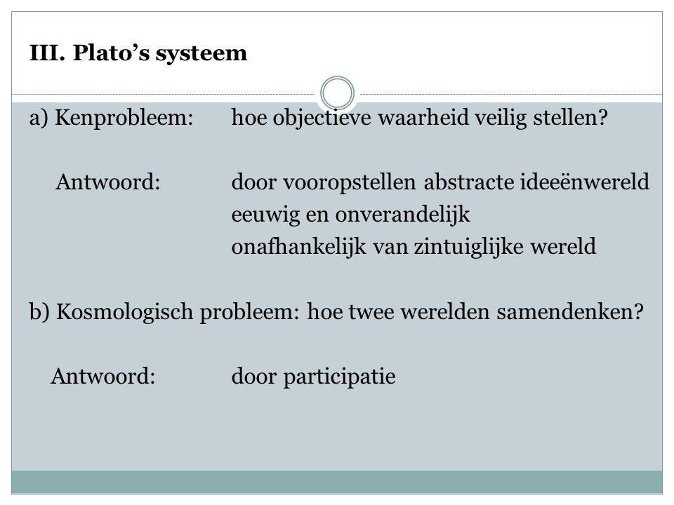 III. Plato's systeem a) Kenprobleem: hoe objectieve waarheid veilig stellen.