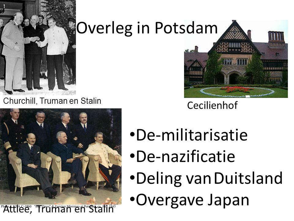 Overleg in Potsdam De-militarisatie De-nazificatie
