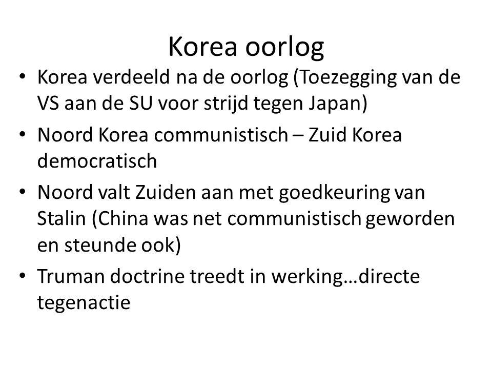 Korea oorlog Korea verdeeld na de oorlog (Toezegging van de VS aan de SU voor strijd tegen Japan)