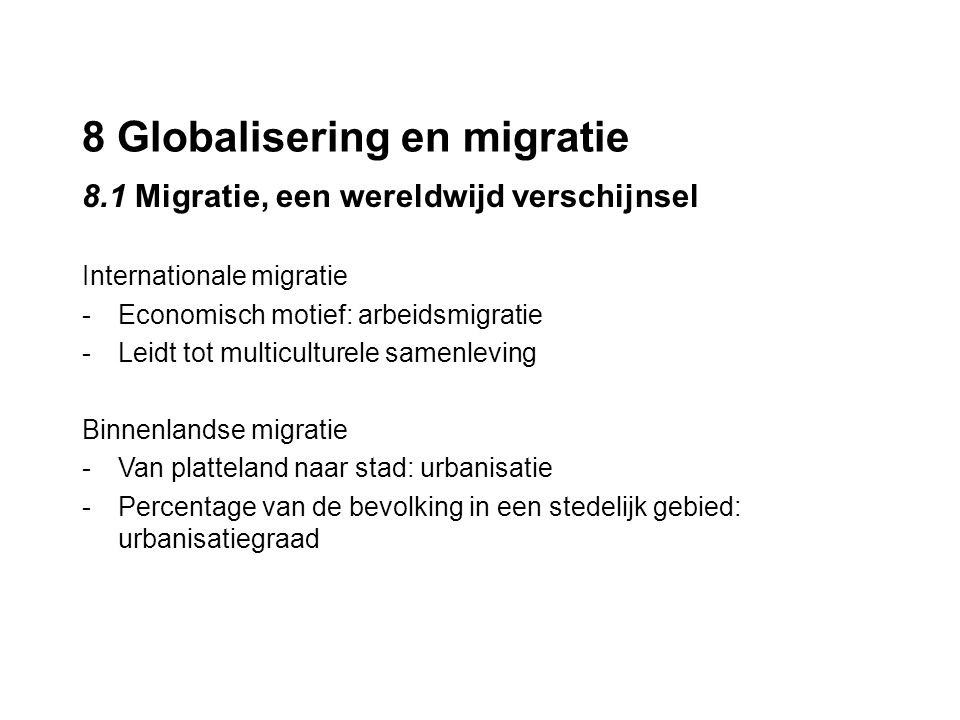 8 Globalisering en migratie