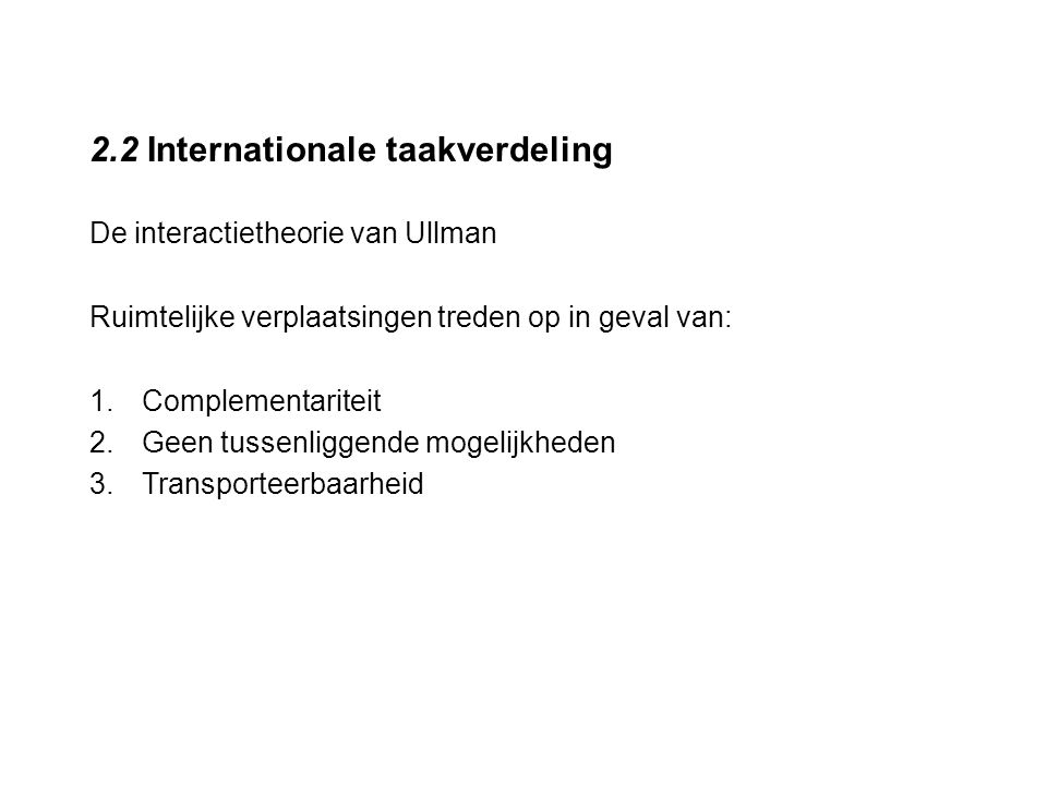 2.2 Internationale taakverdeling
