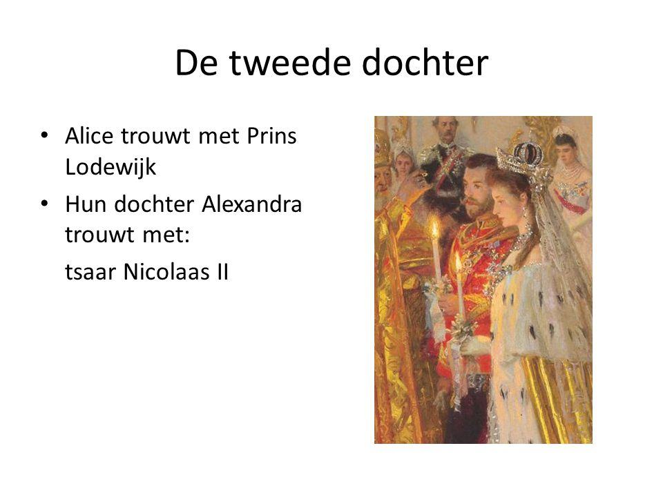 De tweede dochter Alice trouwt met Prins Lodewijk